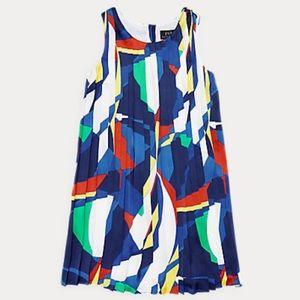 NWT Ralph Lauren Sailboat Pleated Satin Dress